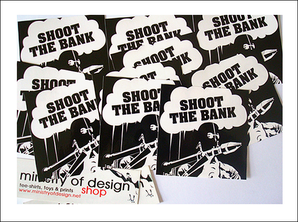 stickers shoot the bank